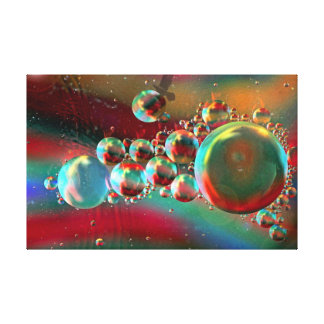 Bubbles and Raven Abstract Planets Stretched Canvas Prints