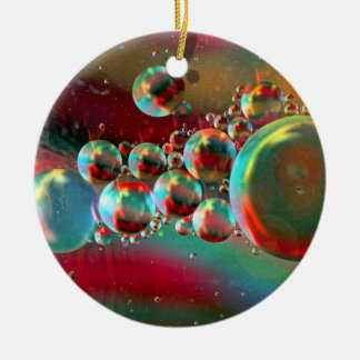 Bubbles and Raven Abstract Planets Ceramic Ornament