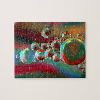 Bubbles and Raven Abstract Planets Jigsaw Puzzles