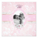 Bubbles Baby Girl Crown Rose Pink Gold Dot Invitation