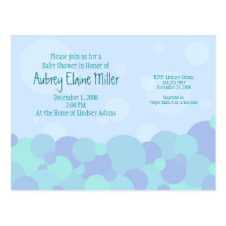 Bubbles Baby Shower Invitation Postcard