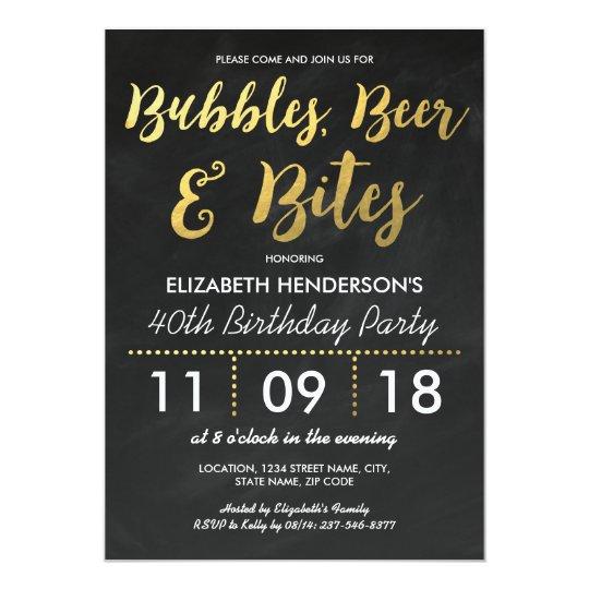 Bubbles Beer Bites Adult Birthday Party Invitation Zazzle Com