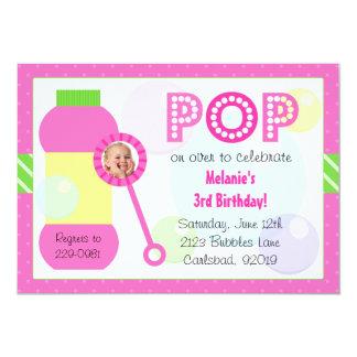 Bubbles Birthday Party 5x7 Paper Invitation Card
