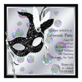 Bubbles Black and White Masquerade Party Card