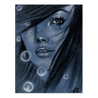 Bubbles blue mermaid Postcard