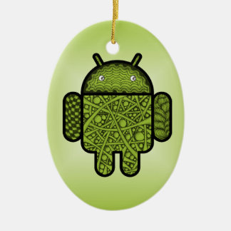 Bubbles Doodle Character for the Android™ robot Ceramic Ornament