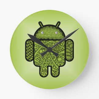 Bubbles Doodle Character for the Android™ robot Round Wall Clock
