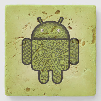 Bubbles Doodle Character for the Android™ robot Stone Coaster