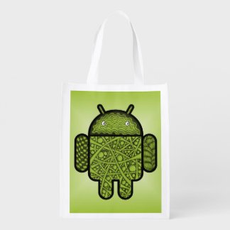 Bubbles Doodle Character for the Android™ robot Grocery Bag