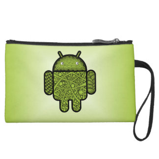 Bubbles Doodle Character for the Android™ robot Suede Wristlet Wallet