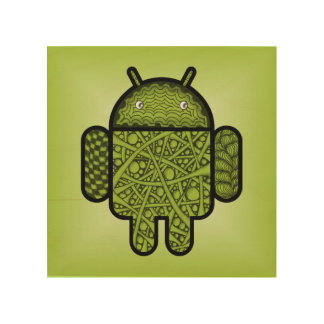 Bubbles Doodle Character for the Android™ robot Wood Print