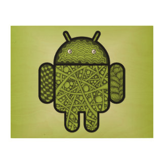 Bubbles Doodle Character for the Android™ robot Wood Wall Art