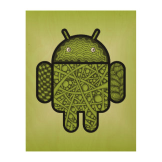 Bubbles Doodle Character for the Android™ robot Wood Wall Decor
