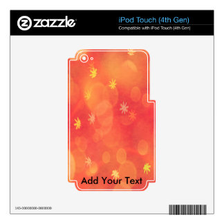 Bubbles & Flowers in Orange Skin For iPod Touch 4G