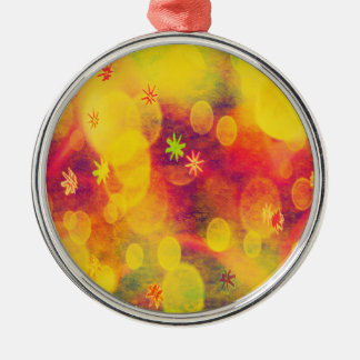 Bubbles & Flowers in Yellow Metal Ornament