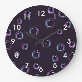 Bubbles, Hand Drawn, Color Pencil on Black Large Clock