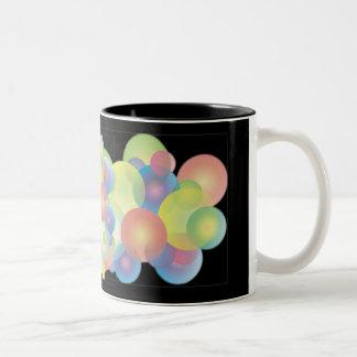 BUBBLES in BLACK by SHARON SHARPE Two-Tone Coffee Mug