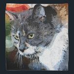 "BUBBLES INTENTLY FOCUSED BANDANA<br><div class=""desc"">A digital art from photo portrait of a cat named Bubbles.</div>"