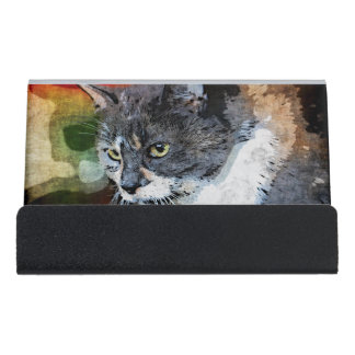 BUBBLES INTENTLY FOCUSED DESK BUSINESS CARD HOLDER
