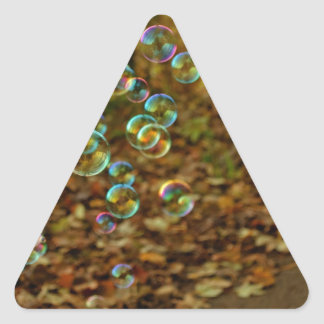 Bubbles on a Fall Day Triangle Stickers