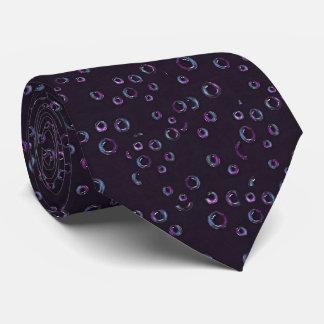 Bubbles on Black Background, Color Pencil Neck Tie