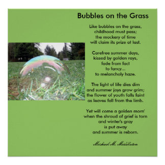 Bubbles on the Grass Poster