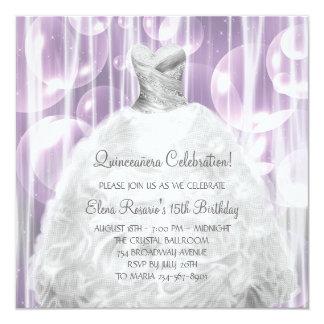 Bubbles Party Dress White Quinceanera Invitations