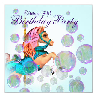 """Bubbles Pink Carousel Pony Girls Birthday Party 5.25"""" Square Invitation Card"""