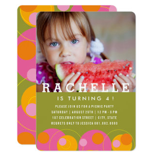 Bubbles Pink Dots Kids Girl Photo Birthday Invite