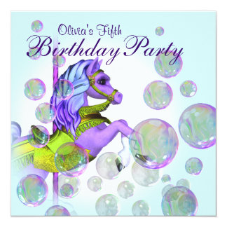 Bubbles Purple Carousel Pony Girls Birthday Party Card