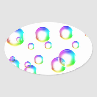 Bubbles - Rainbow Colors Oval Sticker