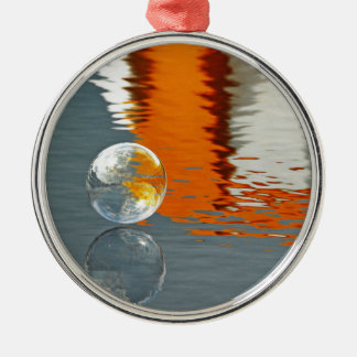 Bubbles Reflecting in Water Round Metal Christmas Ornament