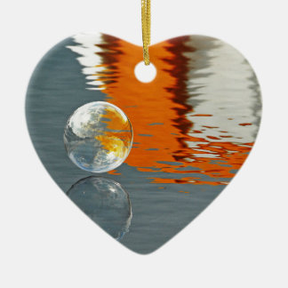 Bubbles Reflecting in Water Double-Sided Heart Ceramic Christmas Ornament