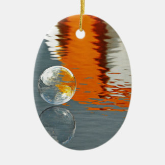 Bubbles Reflecting in Water Double-Sided Oval Ceramic Christmas Ornament