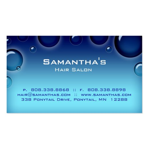 Bubbles Salon Spa Appointment Card blue Double-Sided Standard Business Cards (Pack Of 100)