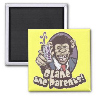 Bubbles says Blame the Parents by Mudge Studios 2 Inch Square Magnet