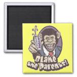 Bubbles says Blame the Parents by Mudge Studios Fridge Magnet
