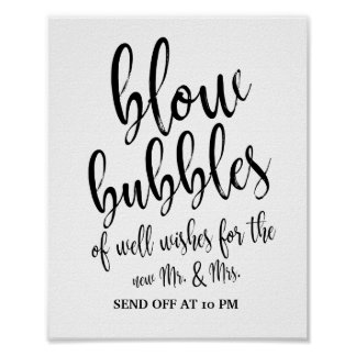 Bubbles Send Off Black and White 8x10 Wedding Sign