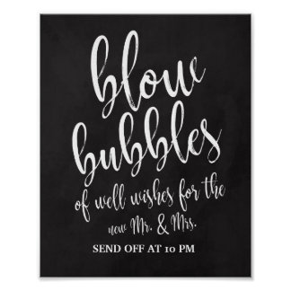 Bubbles Send Off Chalkboard 8x10 Wedding Sign