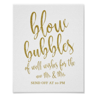 Bubbles Send Off Gold Glitter 8x10 Wedding Sign