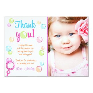 Bubbles Thank You Card Birthday Party Girl