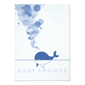 """Bubbles"" - The Baby Blue Whale Baby Shower Card"