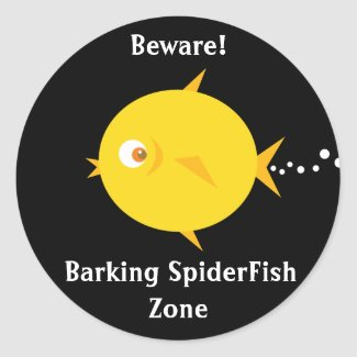 Bubbles The BlowFish_Barking SpiderFish Zone sticker