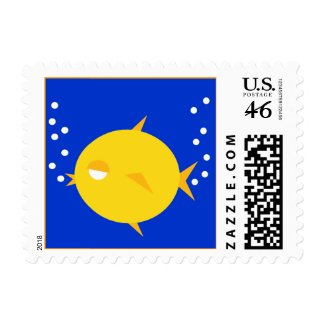 Bubbles The BlowFish_double bubbly postage stamp
