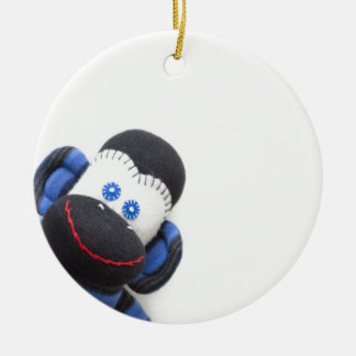 Bubbles the sock monkey ceramic ornament