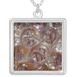 Bubbles , Water beads close up orange clear Square Pendant Necklace