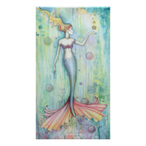 Bubbles Watercolor Mermaid Poster Print