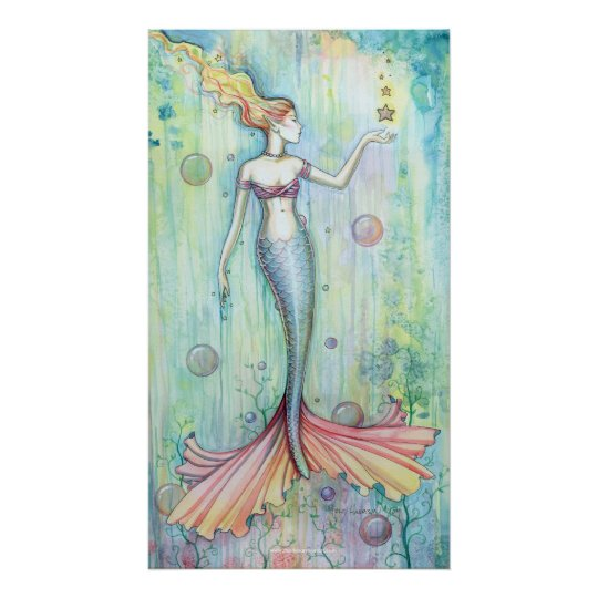 Bubbles Watercolor Mermaid Poster Print