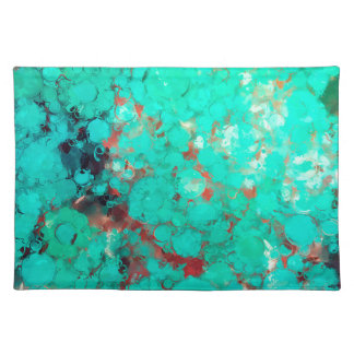 Bubblicious XIII Teal Green Brown Abstract Placemat