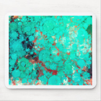 Bubblicious XIII Teal Red and Orange Abstract Mouse Pad